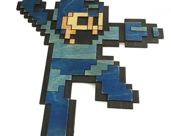 Wooden Megaman Wall Art