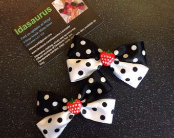 Black and white polka dot rockabilly bows with strawberries!