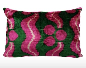Velvet Ikat Pillow: Leaves