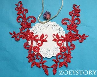 Red Lace Applique, Flower Red Lace, Gorgeous Quality Venise Lace Applique For DIY Project, Sell by Mirror Pair (A005)