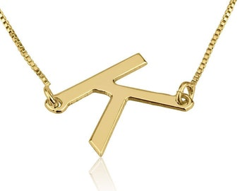 sideways gold initial necklace 14k gold initial necklace solid gold letter necklace sideways letter necklace alphabet necklace