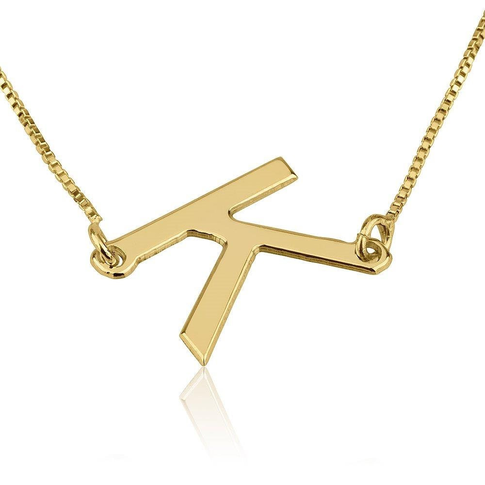 sideways gold initial necklace 14k gold initial necklace