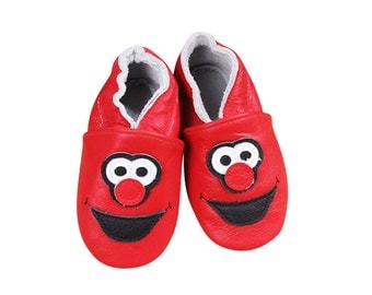 Elmo Inspired Leather Baby Moccasins with Tassels; Infant, Toddler, Pre-walker Crib Shoe