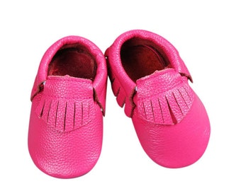 Pink Fashionable Leather Baby Moccasins with Tassels; Infant, Toddler, Pre-walker Crib Shoe