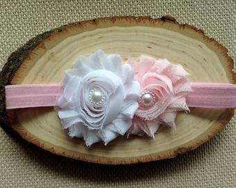 Pink and White Shabby Chic Newborn Elastic Headband