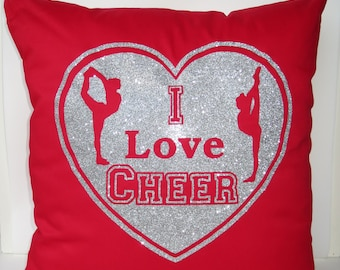 Cheerleading cushion cover - I Love Cheer cushion cover, Cheer pillowcase, cheerleader pillow, cheerleading accessories, cheer pillow red