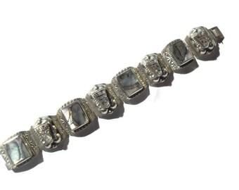 Mexican Silver Bracelet, Taxco Silver Hinged Bracelet, Silver Abalone Bracelet, Mid Century Jewelry, Southwestern Jewelry, Taxco Jewelry