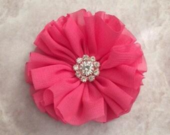 Hot pink Ballerina flower, chiffon flower, rhinestone flower, fabric flower, headband flower, supply flower, ballerina flower,