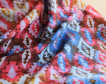 Colorful Aztec Rayon Georgette Poly Blend Fabric by the yard, Rayon Yardage, Fabric by the Yard