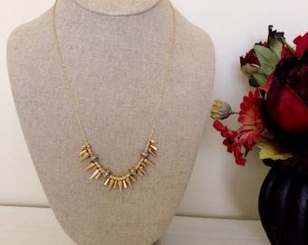 Gold Spike Renegade Chain Statement Necklace - Designer Inspired