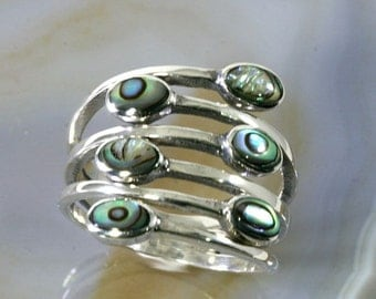 Paua shell and 925 sterling silver, ring  --  1653