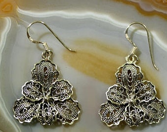Flower earrings 925 sterling silver  --  3791