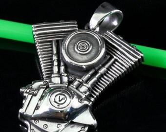 Motorcycle engine V 2 pendant 925 sterling silver  --  2148