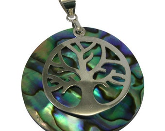 Abalone, PowerShell,pendant 925 sterling silver  -- 4461