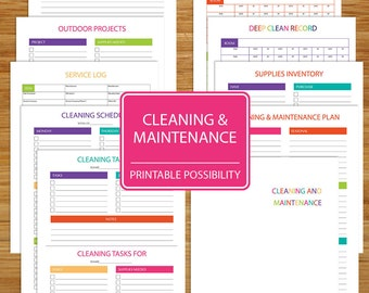 Cleaning and Home Maintenance Packet - Printable Cleaning Set - Plan and Organize Your Household Cleaning and Maintenance