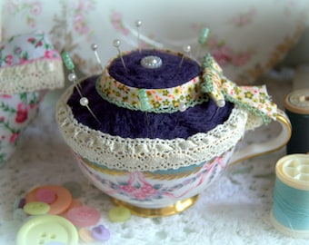 Beautiful Handcrafted Vintage Tea Cup Pin Cushion - Afternoon Tea
