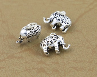 3 Sterling Silver Elephant Charms, 925 Sterling Silver Elephant Pendant, Hollow Elephant Charms, Little Elephant Charms
