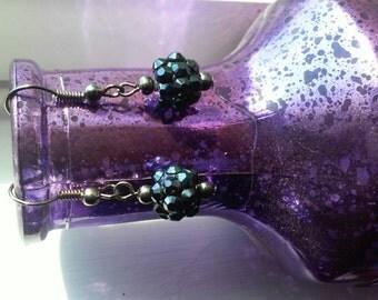Blue disco dangle earrings