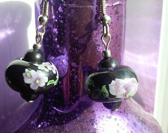 Porcelain flowers beaded dangle earrings