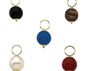 14k Yellow Gold Hooplet Ball Dangle Findings, Fine Jewelry Making, 10mm Red Onyx, Black Onyx, Blue Onyx, Turquoise, Pearl,  Tiger Eye Beads