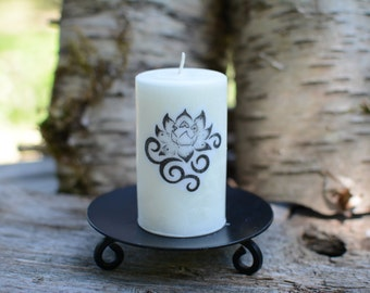 Eco Palm Wax Candle with Lotus Flower