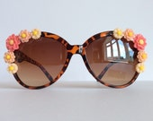 Born Wild Pink - Embellished Sunglasses Glasses Brown Leopard Pink Coral Flowers