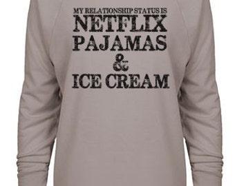 My Relationship Status Is Netflix Pajamas & Ice Cream 3/4 Sleeve Raglan