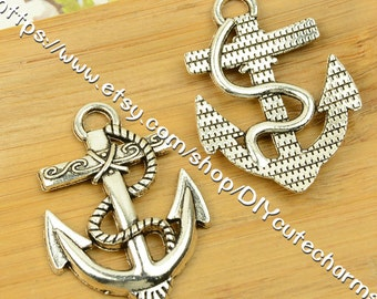 wholesale 100 antique silver 40mmx38mm anchor charms