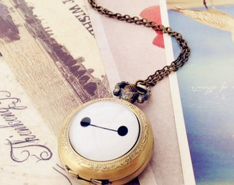 Baymax , Big Hero , Pocket Watch includes two kinds of removable chain , Pocket Watch necklace