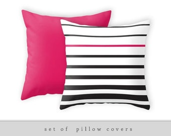 Set of 2 pillow covers. Striped cushions striped pillows black and white stripes pillow black and white stripes cushion accent pillow cover