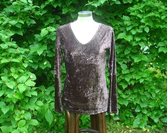 Vintage Jersey Velvet Corduroy Top Sweater; Brown Long Sleeve Womens Sweater Size S to M; Boho Clothing; Zitella Fashion Top made in Italy