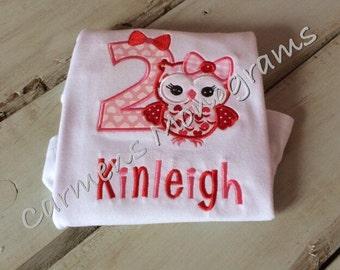 Birthday Owl Applique on Tshirt or Bodysuit