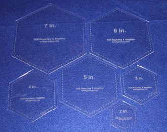 """6 Piece Set Quilting Hexagon Template- 1/8""""  Clear Acrylic  2"""", 3""""  4"""", 5"""", 6"""", 7"""""""