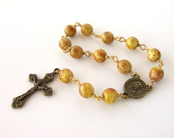 One Decade Catholic Rosary Beads - Our Lady of Fatima Handmade Rustic Yellow Rosary Chaplet Tenner - Unbreakable Mini Rosary Catholic Gift