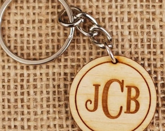Personalized Wooden Keychain / Custom Monogram Engraved