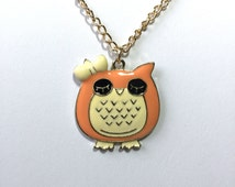 Sleeping Peach Colored Owl Pendant Necklace with Box