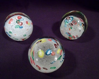 Set of 3 Handblown Glass Paperweights, Millefiori, Snow, Matching