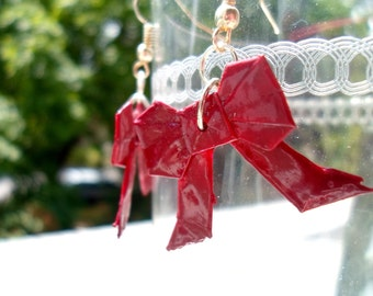 Origami Bow Earrings- Red