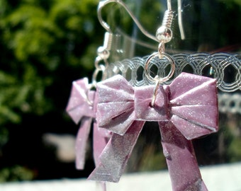 Origami Bow Earrings- Shimmering Pink