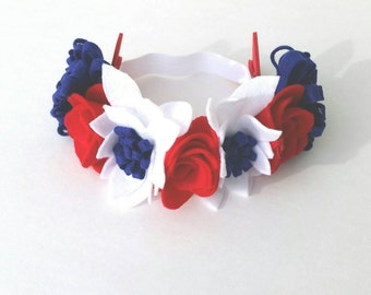 Fourth of July flower crown, patriotic flower crown, red, white, and blue flower crown