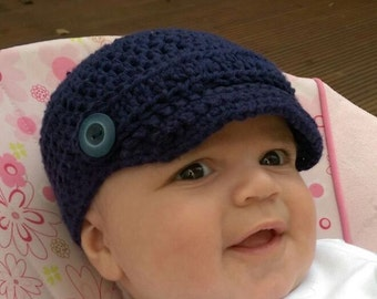 Baby crochet newsboy hat.Nautical cotton baby boy hat. size 0-3, 3-6, 6-24 months