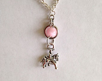 Carousel Horse Charm Neckace With Pink Bead