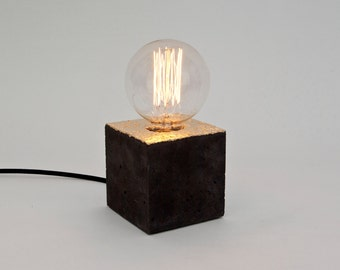 LJ Lamp alpha black gold - concrete table lamp with textile cable - Made in Berlin