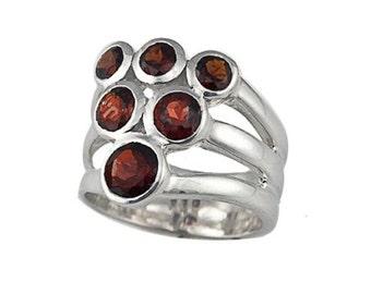 Sterling Silver genuine garnet muti-stone ring (R425)