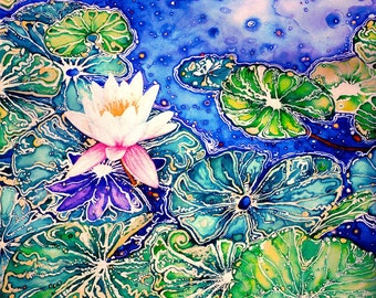 Water Lilly, Watercolor,Pigment Print/ Giclee,Limited Edition,Tropical Image, White Flower,Blues and Greens, Rose and Yellows