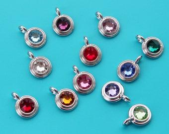 Add a Antiqued Pewter Birthstone Round,Personalized Jewelry,Add on Birthstone,Birthstone,Garnet,Topaz,Emerald,Ruby,Sapphire,Aquamarine