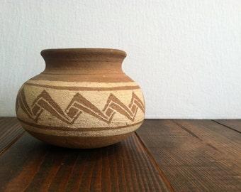 Vintage Geometric Pottery Planter