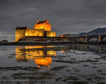 Evening Lights on Eilean Donan Castle - Mounted Photographic Print of the Scottish Highlands