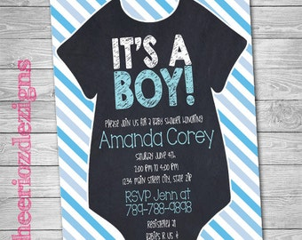 It's a Boy- Baby Shower Invitation- Chalkboard- Stripes