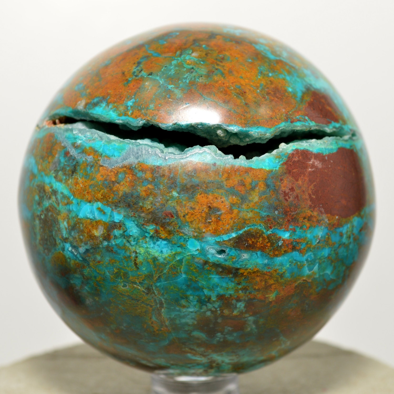 2 4 Blue Chrysocolla W Cuprite And Limonite Sphere By Hqrp